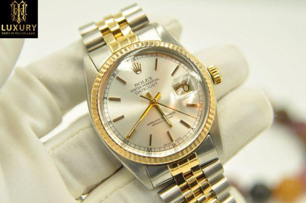 Đồng hồ Rolex Datejust 16013 demi vàng đúc 18k chính hãng - HT Luxury