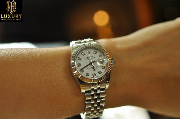 Đồng hồ Rolex Datejust 179174 nữ mặt kim loại đính kim cương - HT Luxury