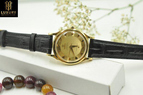 Đồng hồ Omega Constellation bát quái vàng đúc 18k dây da cá sấu