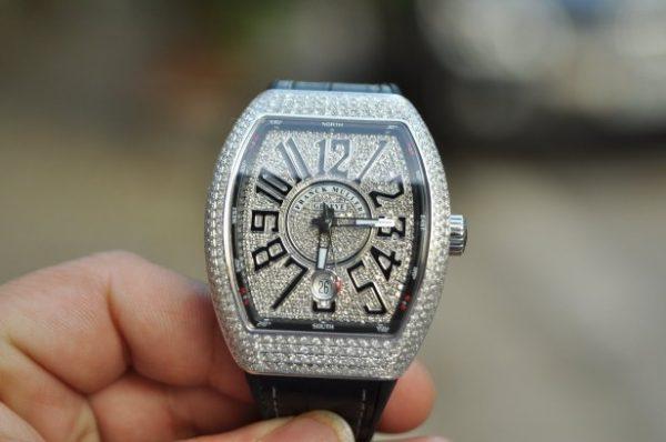 Đồng hồ Franck Muller nam Vanguard V41 Stell Custom full kim cương