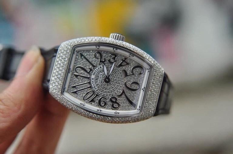 Đồng hồ Franck Muller Vanguard V32 nữ mặt đen full kim cương » HT Luxury  Watch