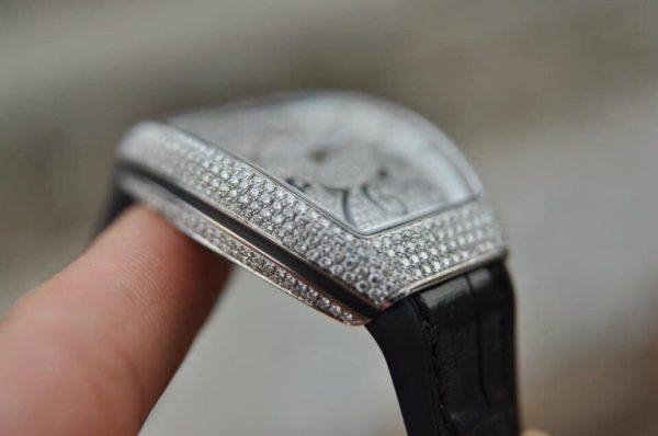 Đồng hồ Franck Muller Vanguard V32 nữ mặt đen full kim cương