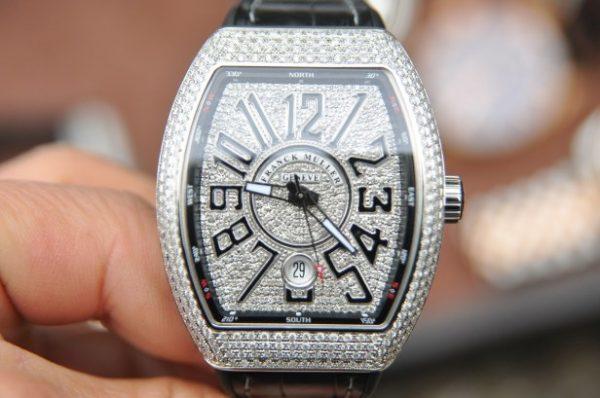 Đồng hồ Franck Muller Vanguard V41 Stell full kim cương chính hãng