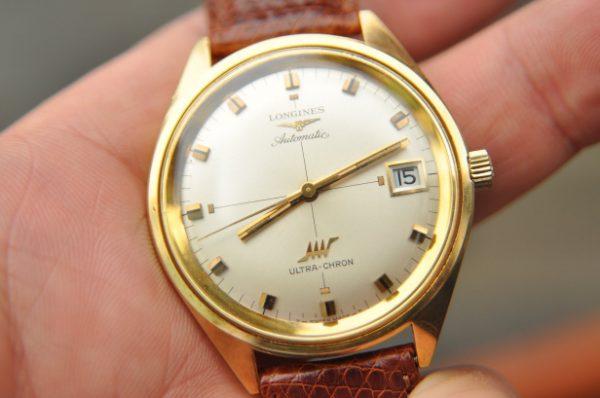 Đồng hồ Longines cổ Ultra-Chron vàng đúc 18k mặt sấm sét