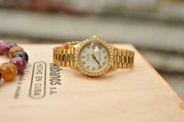 Đồng hồ Rolex nữ Oyster Datejust 69178 Mặt 3D cọc số La mã Vàng đúc 18k