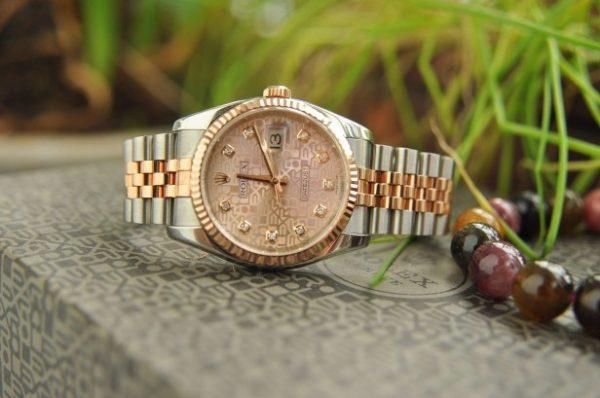 Đồng hồ Rolex 116231 mặt vi tính hồng demi cọc kim cương