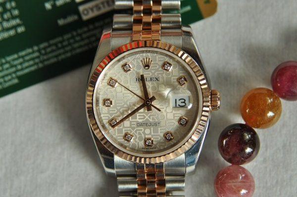 Đồng hồ Rolex 116231 vàng hồng 18k demi mặt vi tính đính kim cương