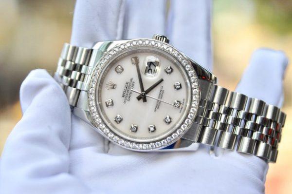 Đồng hồ Rolex 116234 Datejust mặt đá thạch anh cọc số kim cương