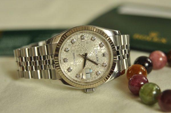 Đồng hồ Rolex 116234 mặt vi tính trắng kim cương to chính hãng