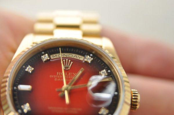 Đồng hồ Rolex 18238 Day Date President vàng đúc 18k mặt đỏ kim cương