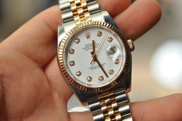 Đồng hồ Rolex Datejust 116231 mặt sứ trắng cọc số kim cương demi 18k