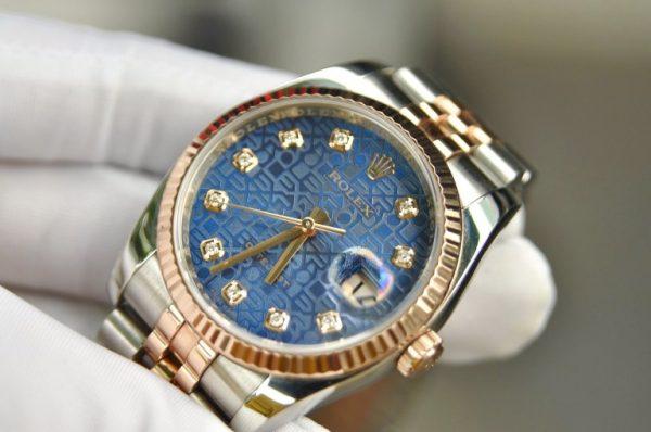 Đồng hồ Rolex Datejust 116231 demi vàng 18k mặt vi tính xanh