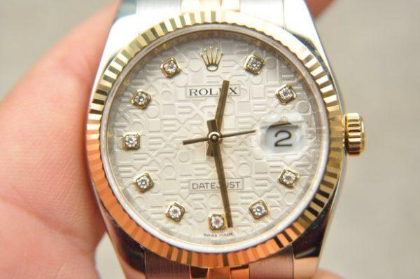 Đồng hồ Rolex Datejust 116233 demi mặt vi tính cọc kim cương