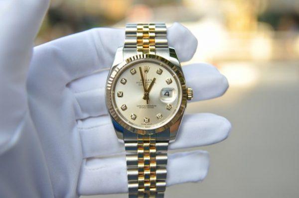 Đồng hồ Rolex Datejust 116233 mặt tia trắng cọc kim cương