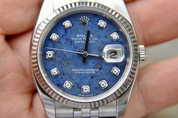 Đồng hồ Rolex Datejust 116234 mặt đá Sodallite xanh cọc kim cương