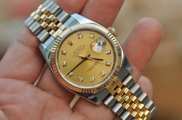 Đồng nam Rolex Datejust 116233 demi 18k mặt tia cọc số kim cương