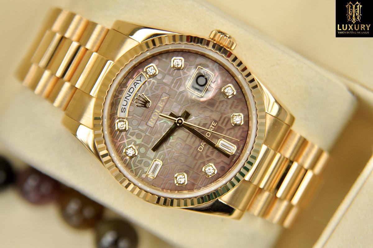 Đồng hồ Rolex Day Date 118238 vàng khối 18k mặt vi tính khảm ốc tím size 36mm