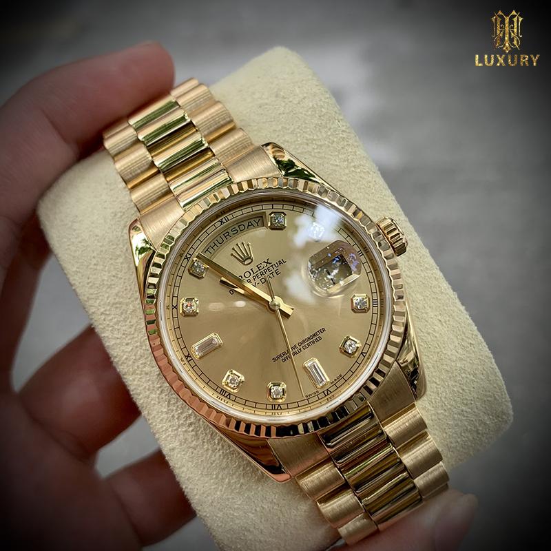 10 chiếc đồng hồ Rolex cũ đáng lựa chọn nhất 2021 Dong-ho-rolex-day-date-118238-cu-vang-khoi-18k-size-36mm-full-box-1